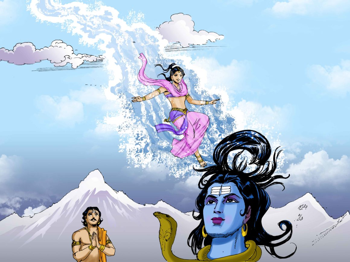 Shiva caught Ganga in her locks as she junped from heaven