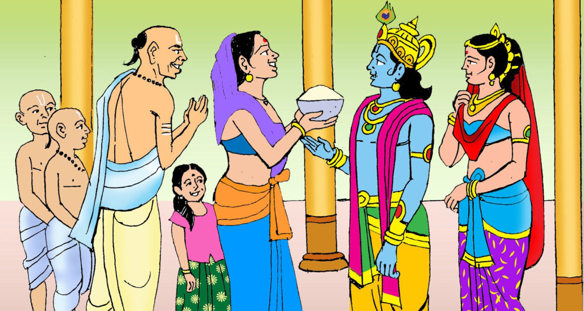 Lord Krishna being greeted by Sudan and his wife