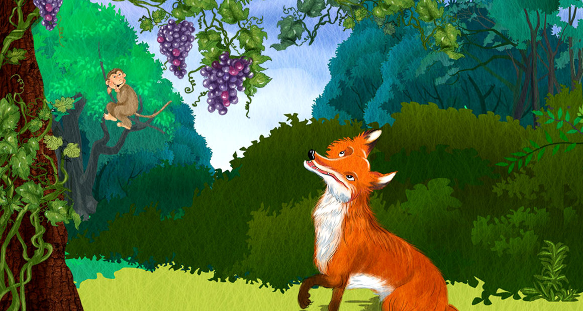 The fox looking at the grapes on the vine