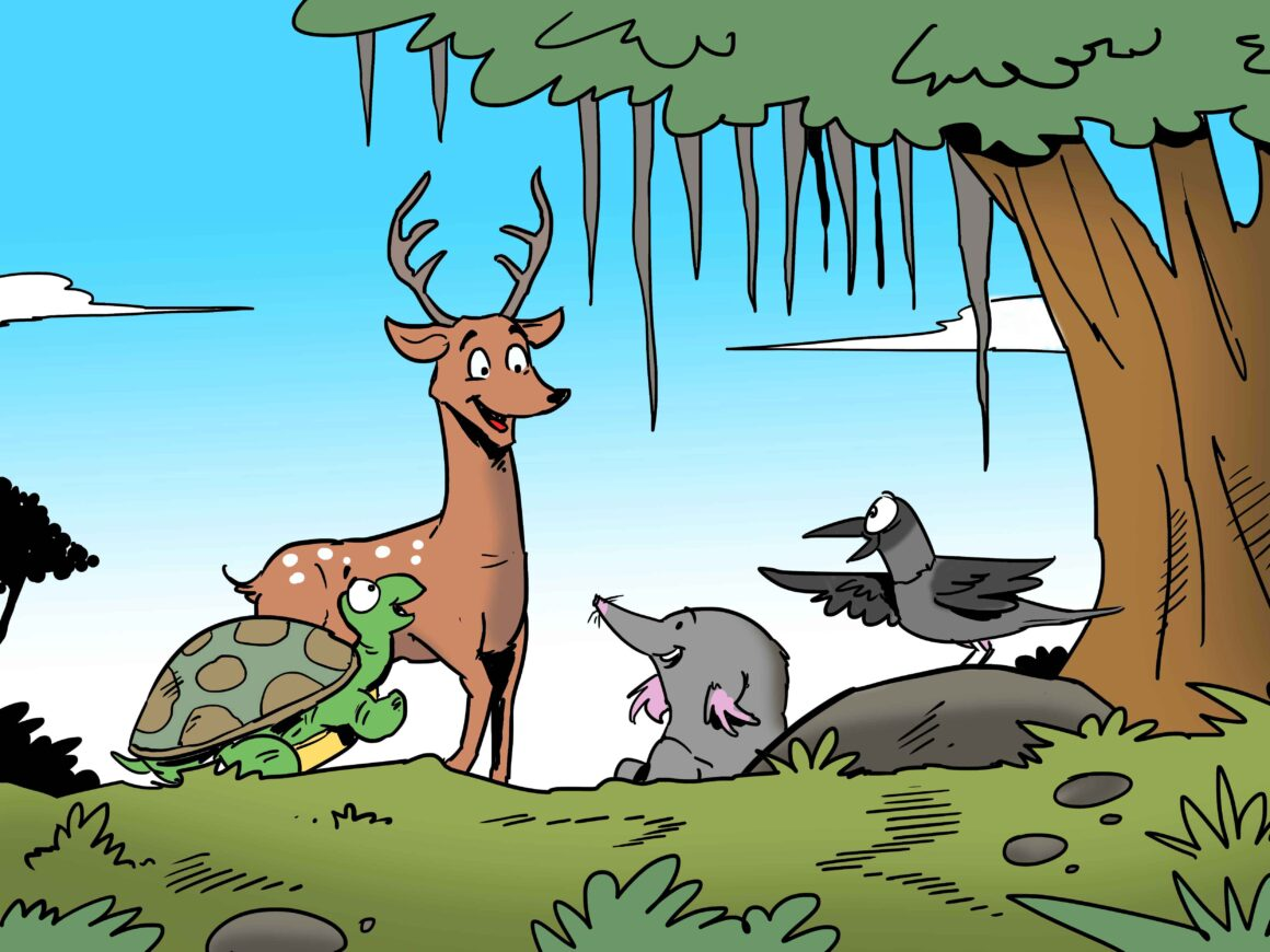 The four friends hanging out in the forest.