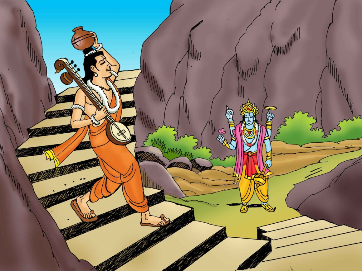 Narada brought down a pot of water for Lord Vishnu
